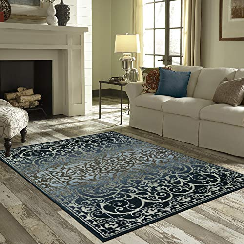 Mainstays India Medallion Textured Print Area Rug Runner Collection,7x10,Navy/Gray