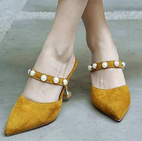 Soirée Chaussure Heel Jaune Mules Pointue Perles Easemax Femme Sexy Kitten SvEA0x