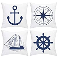 BLEUM CADE Set of 4 Decorative Throw Pillow Covers Cushion Couch Pillow Cover Home Office Car Sofa 18x18 inches
