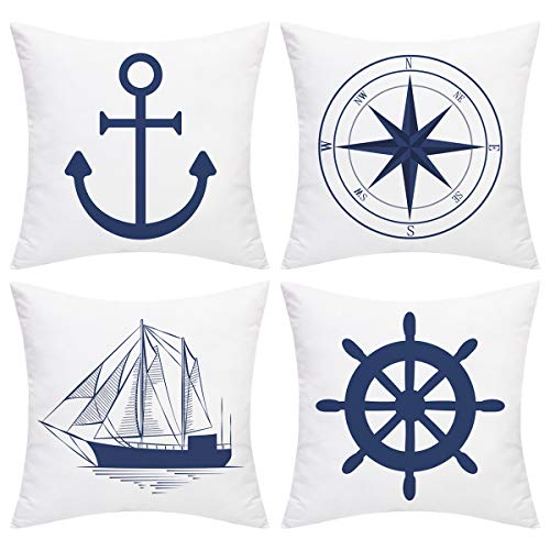 BLEUM CADE Nautical Sailing Throw Pillow Cover Blue Anchor Navigation Compass Sailboat Pillowcase Set of 4 Decorative Cushion Cover for Home Office Car Sofa Couch (Blue White, 18 x 18 Inch)