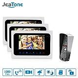 JeaTone 7 Inch Intercom Door Station with Door Release Door Bell Camera Door Phone Intercom System 1 Camera 3 Monitors 1200TVL HD Night Vision Home House Security