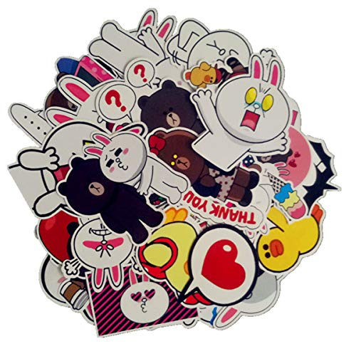 LINE Bear Sticker Kani Rabbit Stickers Girl Cute Cartoon Laptop Stickers Waterproof Skateboard Pad MacBook Car Snowboard Bicycle Luggage Decal 32pcs
