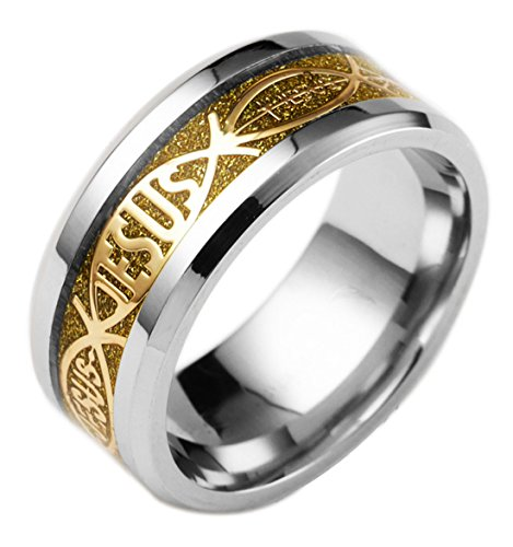 - Tanyoyo 8mm Mens Womens Stainless Steel Jesus Rings Wedding Bands Promise Size 6-13 (13)