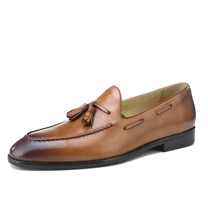 LYMYY Mocasines de cuero suave de los hombres Zapatos de vestir formales elegantes de negocios clásicos Zapatos con cordones Calzados informales sin ...