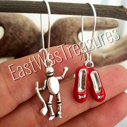 Steel Wizard of Oz Dorothy ruby red slippers earrings- Tin man earrings-gift for her women ()