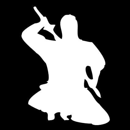 Auto Vynamics - NINJA-CHAR09-5-GWHI - Gloss White Vinyl Ninja Warrior Silhouette Decal - Crouched / Crouching 05 Design - 3.75-by-5-inches - (1) Piece ...
