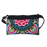 JT-Amigo Fanny Pack Waist Pack Waist Bag Flower Pattern Butterfly Red