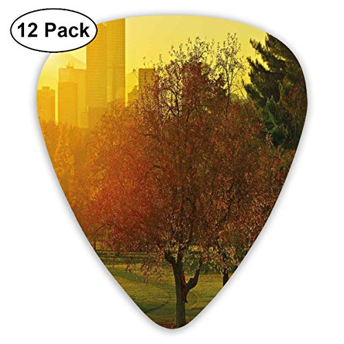 Guitar Picks - Abstract Art Colorful Designs,Sunset Over The City Park Colorado Skyline Autumn Theme Scenic Picture,Unique Guitar Gift,For Bass Electric & Acoustic Guitars-12 Pack -