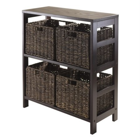 Winsome Granville 5-Piece Storage Shelf with 4-Foldable Baskets, Espresso (Baskets Storage For Shelves)