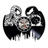Spiderman Vs Venom Vinyl Record Wall Clock for Bedroom For Sale