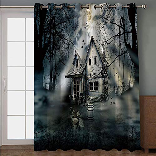 iPrint Blackout Patio Door Curtain,Halloween,Haunted House with Dark Horror Atmosphere Cloudy Mysterious Frightening,Grey White Black,for Sliding & Patio Doors, 102