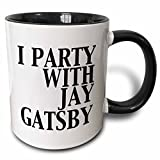 3dRose 123047_4'I'I party with Jay Gatsby' Two Tone Mug, 11 oz, Black/White