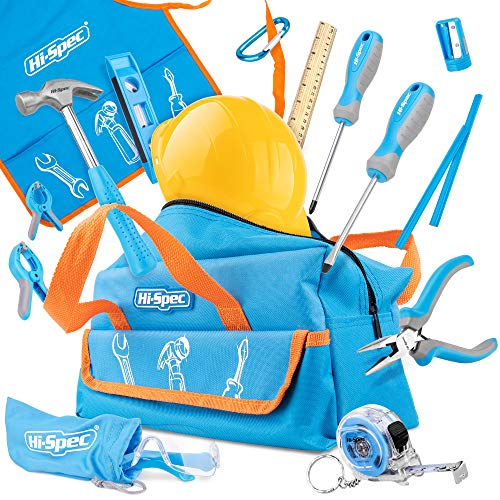 Hi-Spec 18 Piece Kids Tool Kit with Blue Tool Bag, Kids Apron, Pretend Play Hard Had, Safety Glasses, Real Small Size Hand Tools, Level, 4oz Hammer for DIY Childrens Construction Education Tool Set