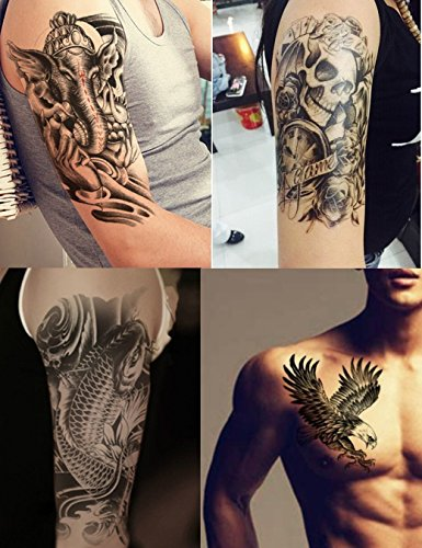 Dalin 4 Sheets Temporary Tattoos, Warrior Elephant, Dead Skull, Koi Fish, Eagle Hawks -