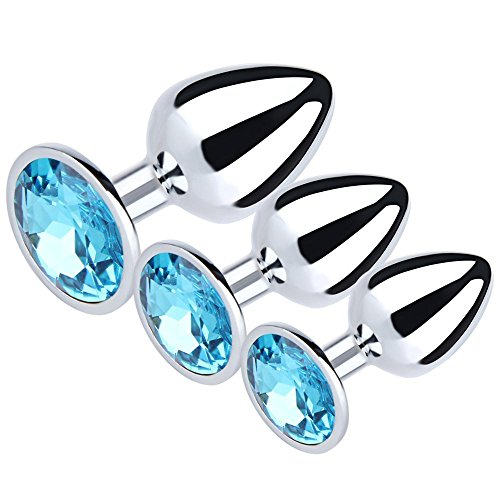 XiuCQ 3Pcs Jeweled Beginners Anal Plug Butt Plug for Men Women Erotic Anal Masturbation Toy Fetish Games (Water Blue) by XiuCQ