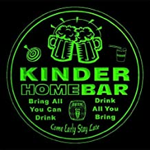4x ccq23384-g KINDER Family Name Home Bar Pub Beer Club Gift 3D Engraved Coasters