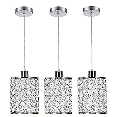 Cuaulans 3 Pack Modern Chrome Crystal Ceiling Pendant Lighting, Adjustable Pendant Light for Kitchen Dinning Room Bedroom - Size: Overall Height: 6.29'' D x 70.86'' H; Crystal Shade: 6.29'' D x 7.87'' H; Adjustable Cord: Max 62.99''. The electric cord is adjustable, you can get the length you want. Pls note the size before purchasing. SIMPLE DESIGN Perfect for various places: This crystal light is made of crystal and metal, sturdy in construction. The lamp shade and canopy are chrome finish, making the light gorgeous. The simple and elegant looking makes it perfect for living rooms, dining rooms, kitchen islands, kitchens, bedrooms and other indoor lighting. Comfortable Glow: 120V 60watts; Bulb base: 1*E26. (not included). Compatible with any type of E26 bulb. You can match light bulbs of different colors according to different areas. - kitchen-dining-room-decor, kitchen-dining-room, chandeliers-lighting - 51dRHF2aeWL. SS400  -