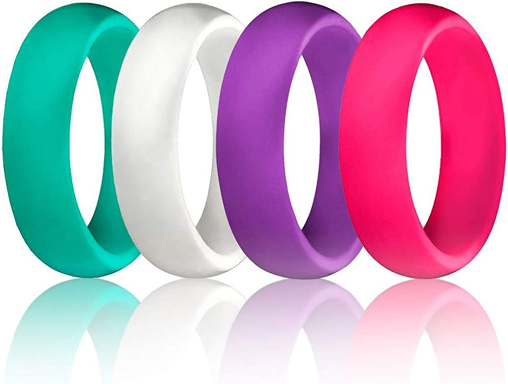 Silicone Promise Rings Rubber Engagement Bands for Women and Men 4 Pack Sets