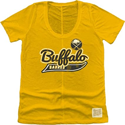 buy popular 2ddf1 9f6e9 Original Retro Brand NHL Buffalo Sabres Women's Nubby Slub Tee, Large, Gold