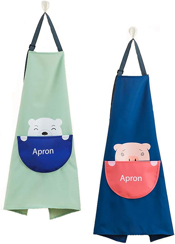 Aprons for Women with Adjustable Neck & Visible Center Pocket Long Ties Apron Waterproof ( Packs of 2 )