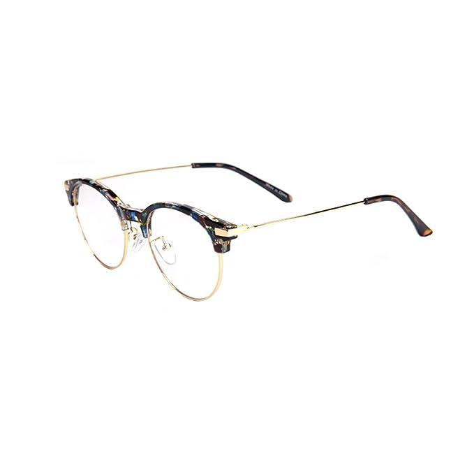 Inlefen Occhiali da vista rotondi in metallo di Occhiali da vista da donna retrò con lenti trasparenti per uomo donna 9plaq