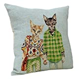 Startview Cute Cat Sofa Bed Home Decoration Festival Pillow Case Cushion Cover (B)