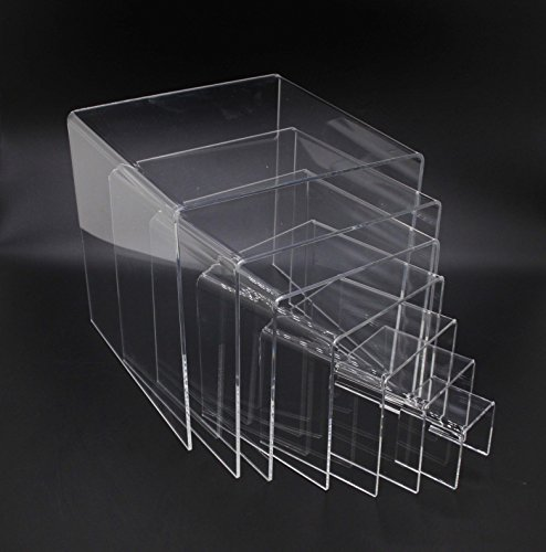 FixtureDisplays Clear Plexiglass Lucite Acrylic Display Risers - Set of 7 - 1/8