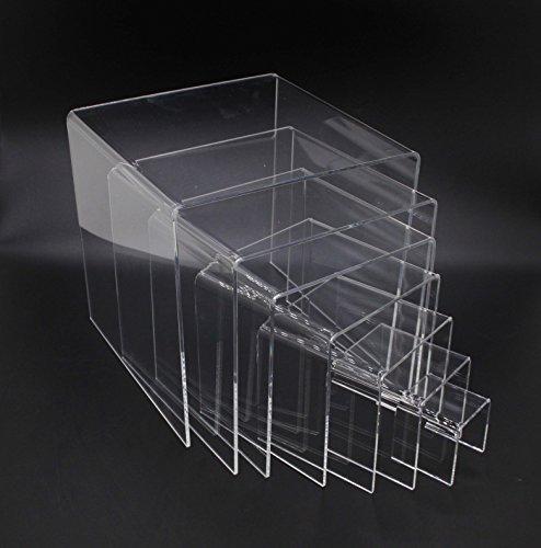 FixtureDisplays Clear Plexiglass Lucite Acrylic Display Risers - Set of 7 - 1/8