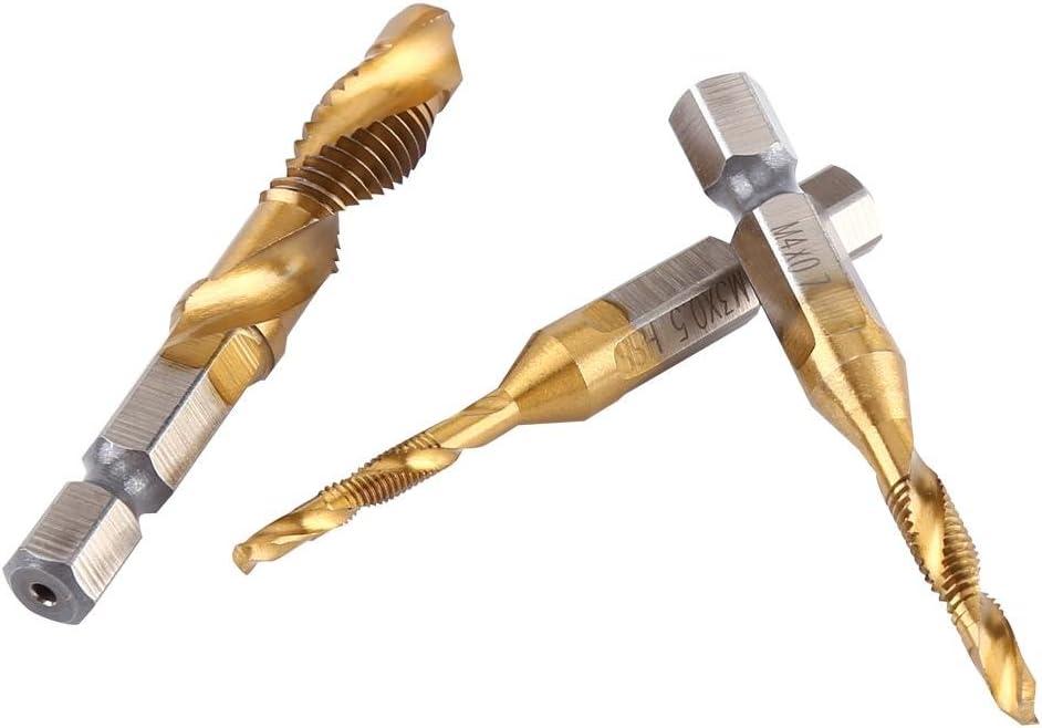 Roadiress Metric Thread M3-M10 Titanium Coated HSS Drill and Tap Bits 1//4 Hex Shank 6pcs