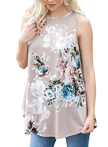 Cami Neck (LOSRLY Women Floral Print T-Shirt High Neck Casual Blouse Sleeveless Tank Tops-Grey S 4 6)