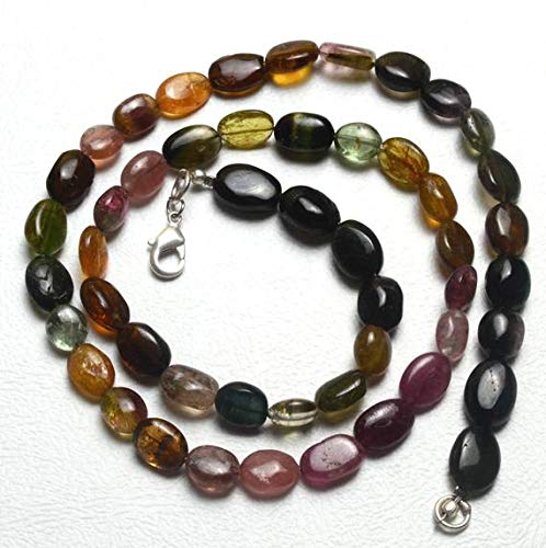 GemAbyss Beads Gemstone 1 Strand Natural 18 inch AAA Super Finest Natural Rare Tourmaline Multi Color Smooth Nuggets Big Beads Necklace 6 to 10 MM - Necklace Tourmaline Color Multi