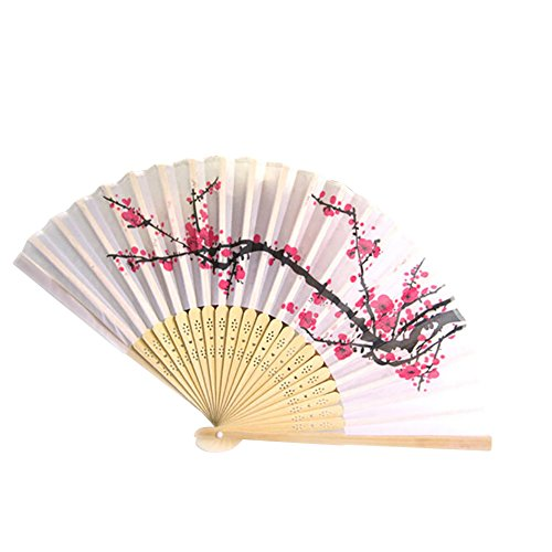 HOMIE HOMEY Chinese Calligraphy Plum Blossom Design Handheld Silk Bamboo Foldable Fan Summer Accessories Companion of Qipao for Household Decoration, Gift, Wedding, Daily Use Oriental Asian Culture