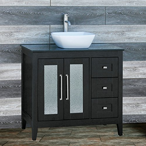 Elimaxs Solid Wood 36 Bathroom Vanity Cabinet Ceramic