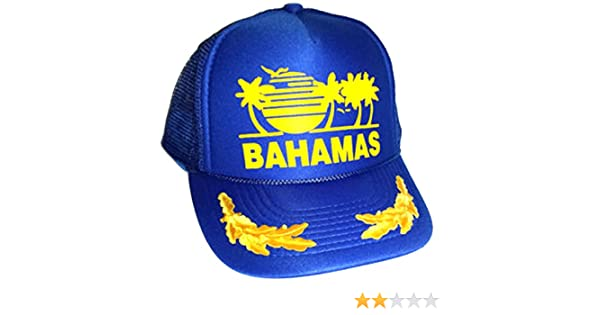 Amazon.com  Blue Bahamas Mesh Trucker Hat Cap Gold Leaf Captain Snapback   Clothing 9abefc165c40