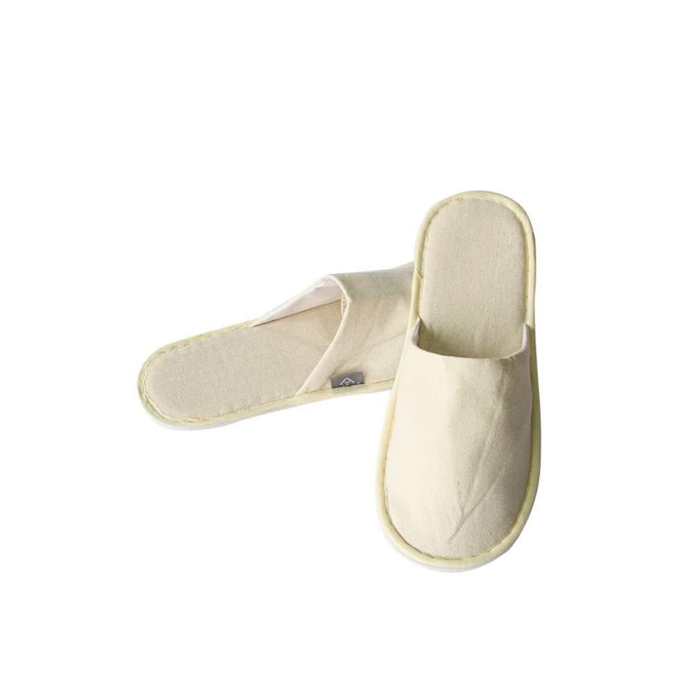 Limeow Zapatillas de Lino Desechables Zapatillas Desechables de Lino Zapatillas de SPA Zapatillas de Punta Cerrada C/ómoda Zapatilla para Suelas Antideslizantes SPA Hotel Guest Desechable 4 Doble