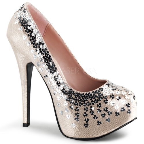 Bordello by Pleaser Womens Teeze-06 Platform Pump Blush Sequined Metallic Fabric oo4JNWq8
