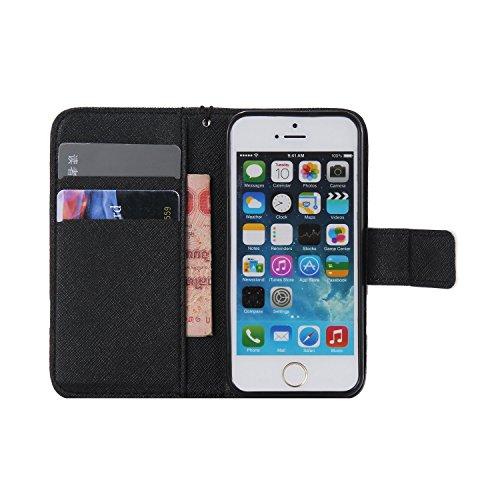 Laoke - Carcasa de silicona para teléfono móvil, cubierta pintada para iPhone 5/5S/SE de Apple + protector contra el polvo blanco 12 3