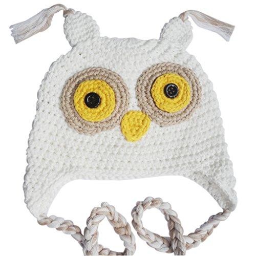 Owl Costumes Infant (Baby Girl Boy Crochet Winter Hat Kids Handmade Owl Cap (White))