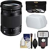 Sigma 18-300mm f/3.5-6.3 Contemporary DC Macro HSM Zoom Lens with 3 Filters + Flash + Diffuser + Kit for Sony Alpha A-Mount DSLR Cameras