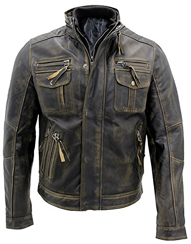 Style Leather Collection - Men's Vintage Cafe Racer Stylish Leather Jackets Collections | Real Leather Jacket Men | All Sizes (Large, New Biker Style Jacket)