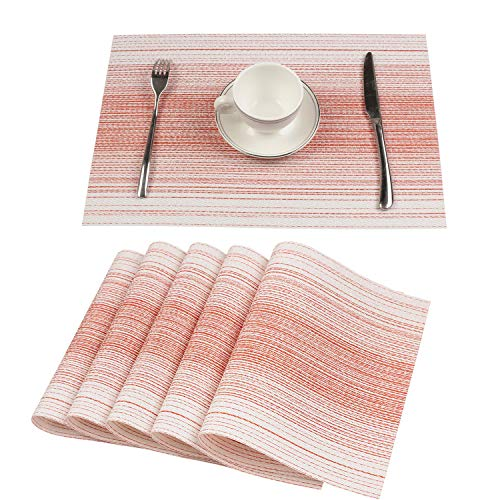 Homcomoda Washable PVC Placemats for Dining Table Set of 6 Heat-Resistant Woven Durable Place Mats for Kitchen Table (Pink)