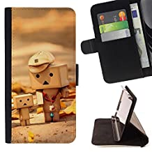 - ART CHILD TOYS CUTE WOOD FIGURINE 3D - - Premium PU Leather Wallet Case with Card Slots, Cash Detachable Wrist Strap Funny HouseFOR LG G3