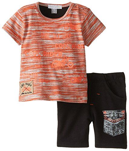 Petit Lem Baby Boys' Newborn Denim Biker 2 Piece Set, Orange/Black, 6 Months ()