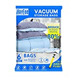 Premium Reusable Vacuum Storage Bags with Free Hand Pump, Jumbo 6 pack (40'X30'), Durable Compression Bags for Clothes Blankets Comforters Pillows, Double Zip Seal & Leak Valve