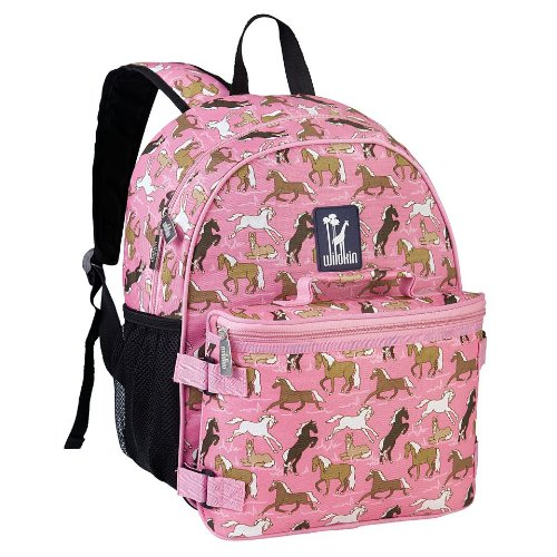 Wildkin Horses in Pink Bogo Backpack with Lunch Bag, One Size