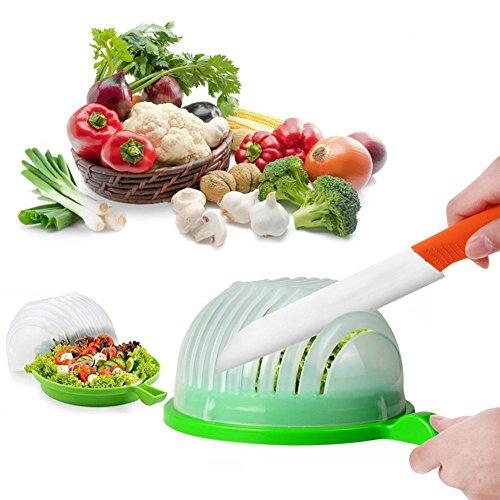 Peoria NEW Salad Cutter Bowl,Salad Spinner Fruit Vegetable Salad Maker Bowl in 60 Seconds Fast,Food Grade ABS Vegetable Cutter,Great Salad Chopper Easy To Slice Chop Fruit Vegetable for Salad