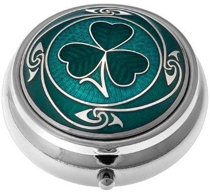 - Pill Box (standard size) in a Shamrock Design