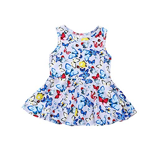 Toddler Baby Girls Butterfly Dress Sleeveless Jersey Dress Kids Summer Casual Swing Dresses 0-4Y ()