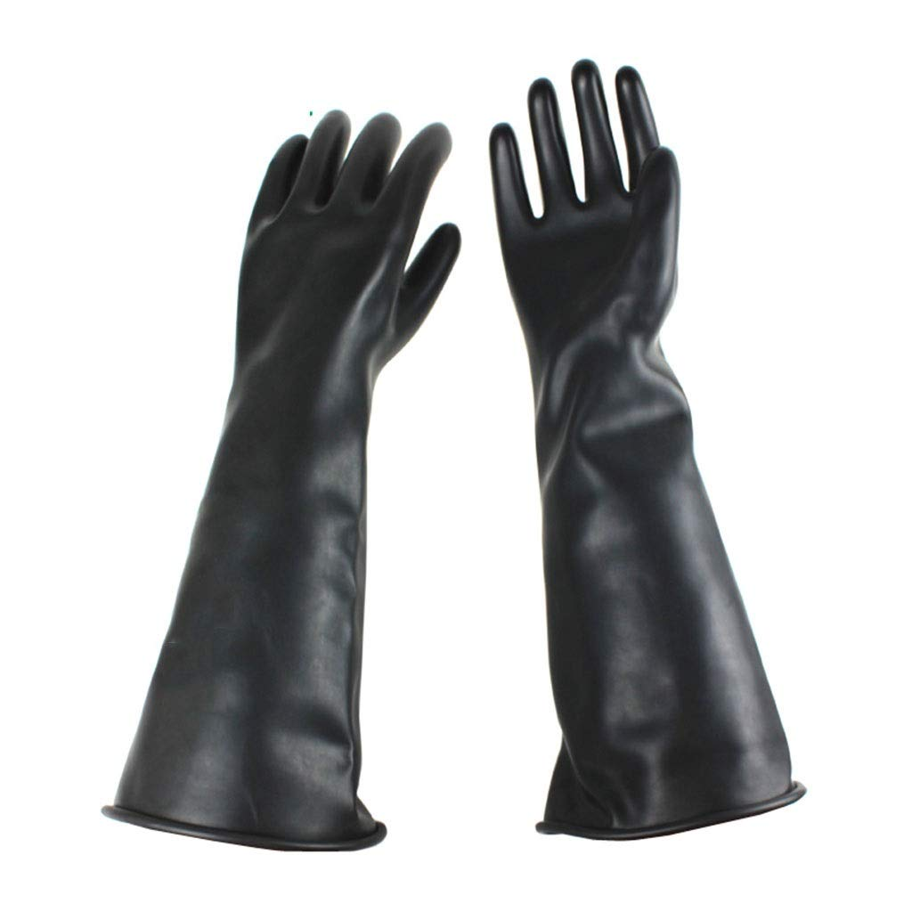 Rubber Anti-Chemical Gloves Industrial Acid and Alkali Resistant Black Long Thick Anti-Corrosion Resistant Concentrated Sulfuric Acid Work Gloves (Size : L)