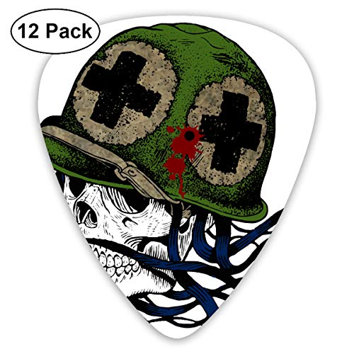 Cool Halloween Shotgun Soldier Skull Bendy Ultra Thin 0.46 Med 0.73 Thick 0.96mm 4 Pieces Each Base Prime Plastic Jazz Mandolin Bass Ukelele Guitar Pick Plectrum Display ()